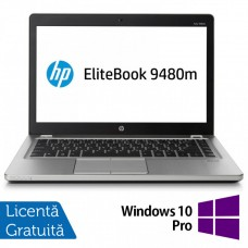Laptop HP EliteBook Folio 9480m, Intel Core i7-4600U 2.60GHz, 8GB DDR3, 240GB SSD, 14 Inch, Webcam + Windows 10 Pro
